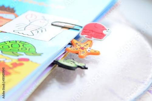 Fotografie, Obraz  Colorful funny fasteners on a magazine