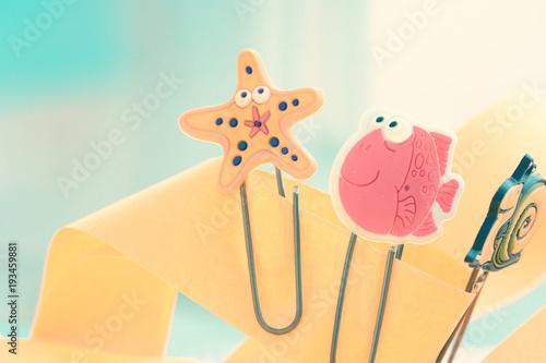 Fotografie, Obraz  Cute marine paper fasteners