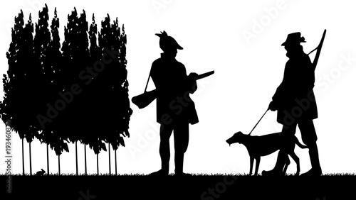 chasseurs et leur chien ombres chinoises Fotobehang