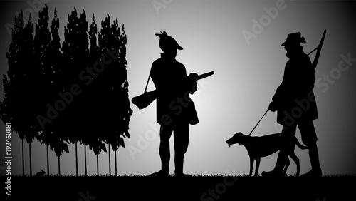 chasseurs le soir Fotobehang