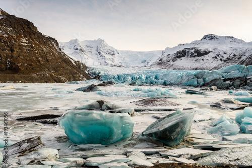 Poster Gletsjers frozen landscape at vatnajokull glacier, Iceland