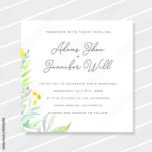 Wedding Invitation Template With Yellow Watercolor Flowers Marriage