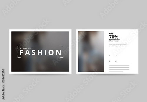 Fashion Postcard Layout With Photo Elements Buy This Stock Template - Photography postcard template