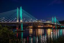 Tilikum Crossing Bridge In Portland Oregon At Twilight