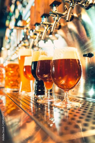 Beer taps in a pub Wallpaper Mural
