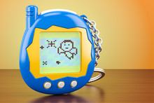 Tamagotchi Game, Pets Pocket Game On The Wooden Table. 3D Rendering