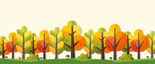 Illustration Of Autumn In Flat Style. Banner With Trees, Bushes And Mushrooms.