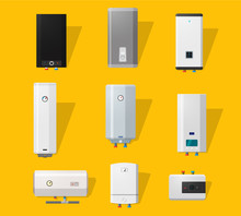 Boiler Icons Set In Flat Style...