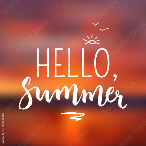 hello summer handwritten poster lettering template for graphic