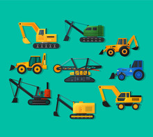 Excavators Icons In Flat Style. Mining Excavator And Trucks Excavator, Old And Modern.