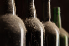 Old Dusty Wine Bottles