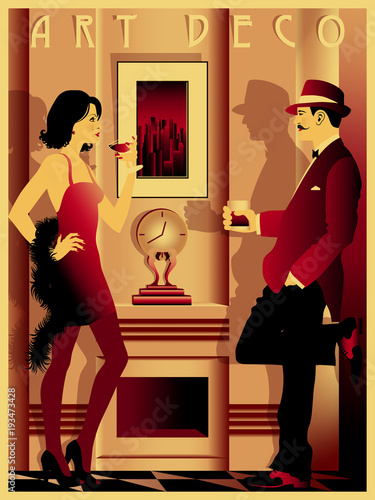 Plakaty do antyram, ramek lub samoprzylepne couple-in-restaurant-in-the-style-of-the-early-20th-century-retro-party-invitation-card-handmade-drawing-vector-illustration-art-deco-style