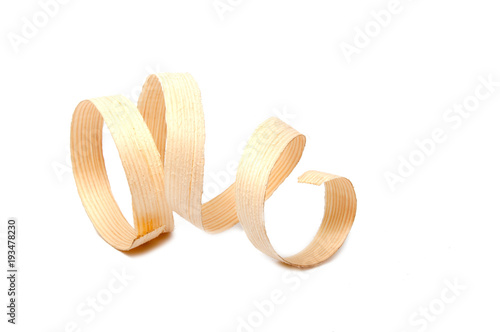 Fototapeta  Sawdust or wooden cuttings isolated on the white