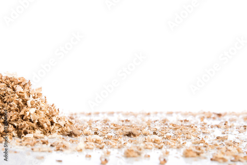 Obraz na plátně  Oak wood shavings on white background, shadows and reflections, wood waste, spac