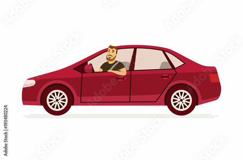 Young man in a car - cartoon people character isolated illustration