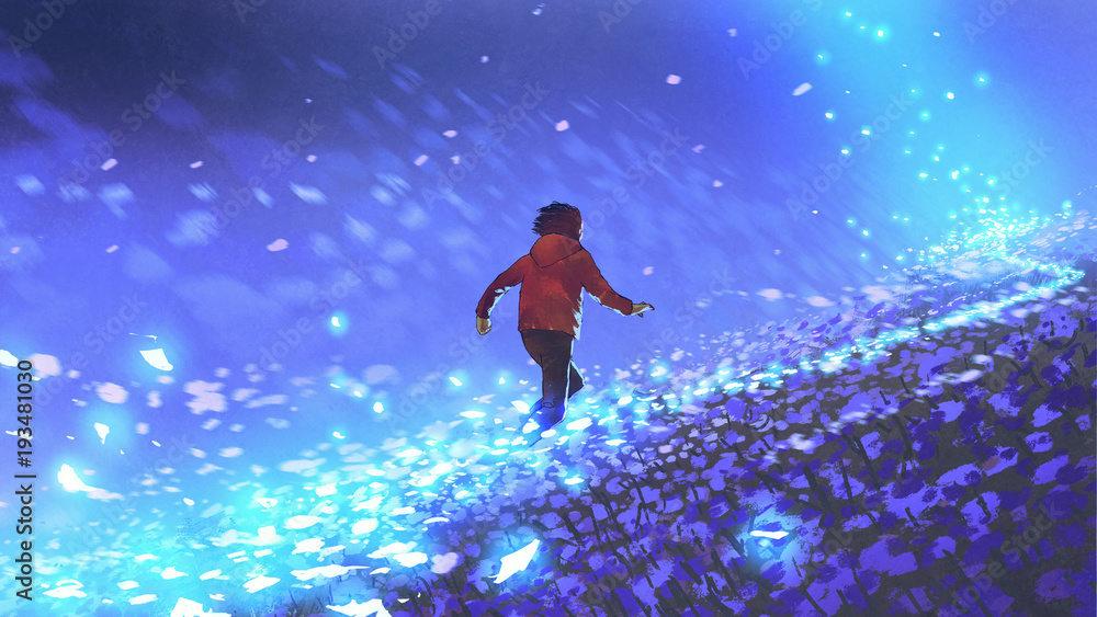 Fototapeta night scenery of the boy running on blue meadow with glowing petal of flowers, digital art style, illustration painting