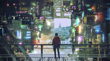 Fototapetaman standing on balcony looking at futuristic city with colorful light, digital art style, illustration painting