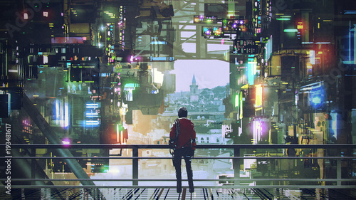 man standing on balcony looking at futuristic city with colorful light, digital Fotobehang