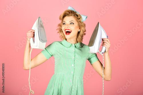 Obraz na płótnie Retro woman ironing clothes, gender inequality.