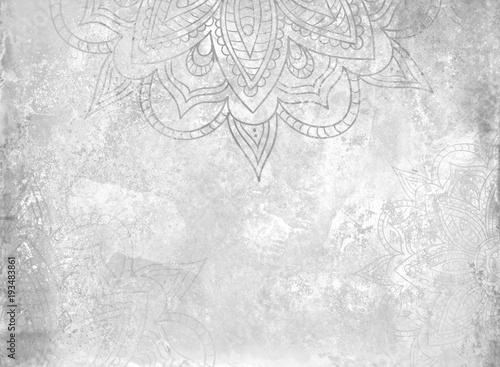 Grayscale Mandala Background Canvas Print