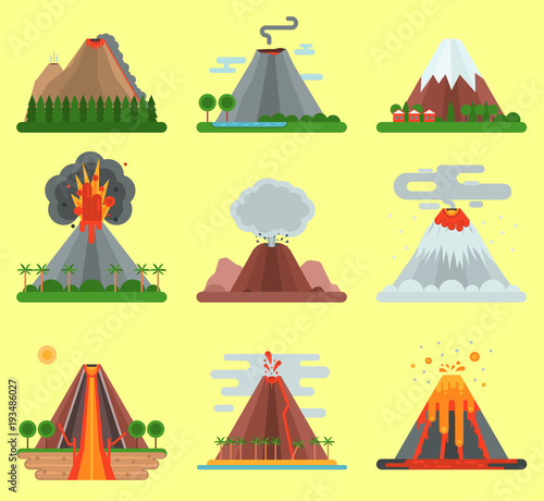 Fotografia Volcano vector magma nature blowing up with smoke mountain isolated