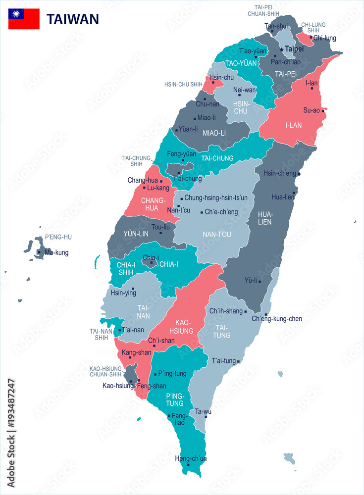 Fotografie, Obraz Taiwan - map and flag - Detailed Vector Illustration