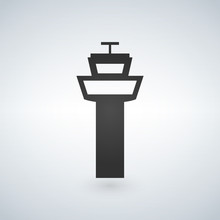 Flight Control Tower Icon For Web, Mobile And Infographics. Vector Dark Grey Icon Isolated On Light Grey Background.