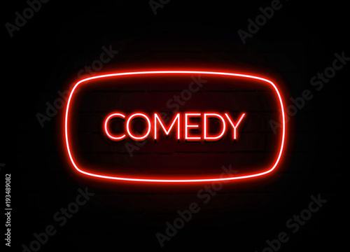 Fotografie, Tablou  Comedy neon sign on brick wall background.
