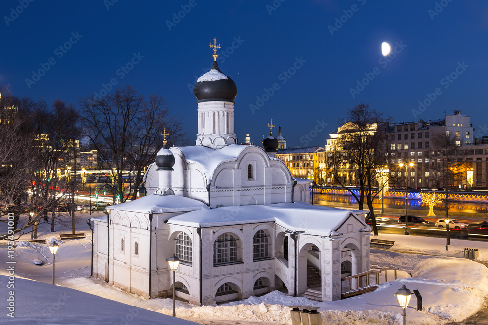 Fototapety, obrazy: Moscow. The Church of the Conception of Anna, the beginning of the 16th century. Historical district Zaryadye at late evening. Russia