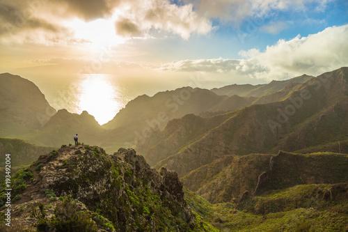 Mountain serpentine. The road is mountainous. The way from Anaga to Santa Cruz de Tenerife. Stunning top view. Anaga, Tenerife, Canary Islands, Spain. © Gena
