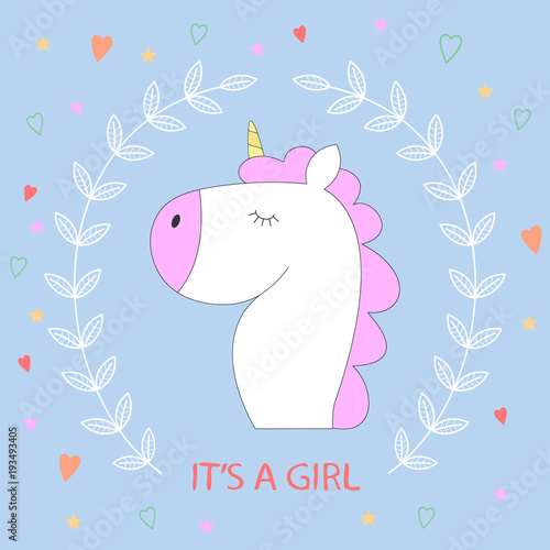 Poster Pony Magic cute unicorn in cartoon style with lettering Its a girl.