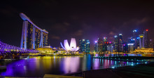 Singapore Skyline With Urban B...
