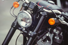 Headlamp Of A Classic Motorcycle, Stylish Front View, Close-up
