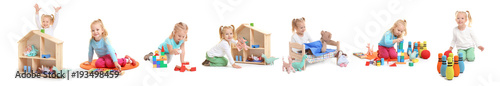 Photo Collage of happy little girl playing with different toys on white background