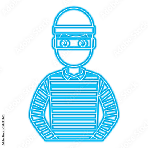 Fotomural male thief avatar mask cap and striped clothes vector illustration blue neon lin
