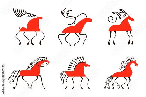 Fotografie, Obraz  Set of six red horses
