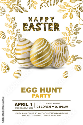 Foto  Easter egg hunt party vector poster design template