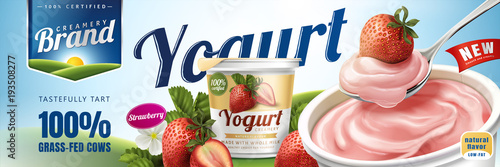 Obraz Strawberry yogurt ads - fototapety do salonu