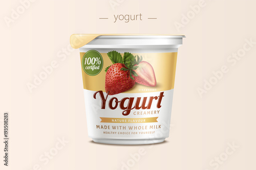 Fototapeta Strawberry yogurt package design obraz