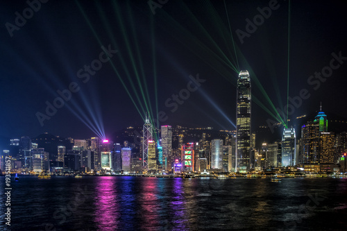 Stickers pour porte Pierre, Sable Hong Kong Central Business District at night with laser beam