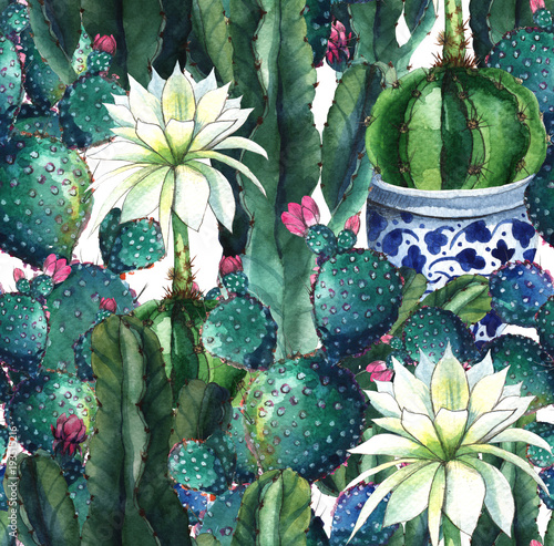 Printed kitchen splashbacks Watercolor Nature Cactus. Watercolor seamless pattern