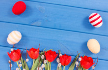 Red Tulips, Easter Catkins And...