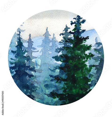 Fotografie, Obraz  .Watercolor landscape with Pine forest, mountains