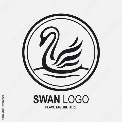 Swan icon design template. Black swan icon
