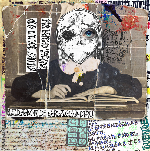Poster Imagination Ghost and weird. Mysterious,macabre and esoteric collage series.