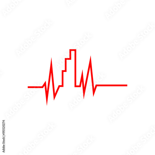 Fotografía  Pulse and bar graph sign. Vector Illustration on white background