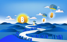 Bitcoin Currency Symbol And Business  Design. Bitcoin Comes To The Town.  3D Vecter Illustration