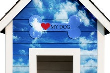 Love  Dog Concept.  White Bone With Red Heart Shape In Front Of Dog House. Cloud And Blue Sky On The Wall.