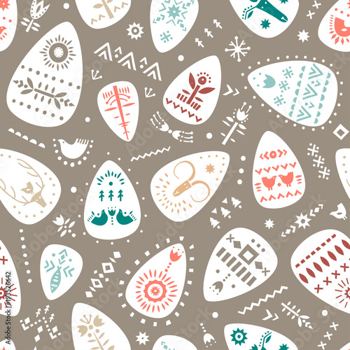 Cotton fabric Vector hand drawn Easter pattern of ornamented eggs in Scandinavian style.