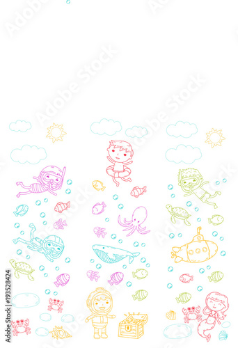 Photo Stands Candy pink Underwater. Kids waterpark. Sea and ocean adventure. Summertime. Kids drawing. Doodle image. Cartoon creatures with children. Boys and girls swimming